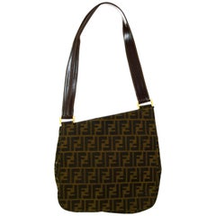 Fendi Vintage 1990s Monogram Zucca Flat Shoulder Bag