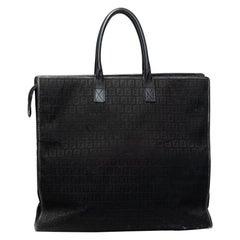 Fendi Vintage Black Canvas Zucchiano XL Mono Tote Bag