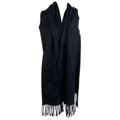 Fendi Vintage Black Cotton Blend Jacquard Floral Fringed Scarf