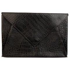 Fendi Vintage Black Embossed Portfolio Envelope Clutch Bag