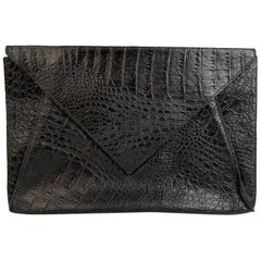 Fendi Vintage Black Embossed Portfolio Envelope Clutch Bag