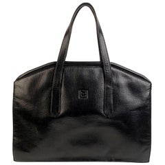 Fendi Vintage Black Leather Framed Satchel Top Handle Bag