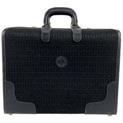 Fendi Vintage Black Monogram Canvas Travel Overnight Bag
