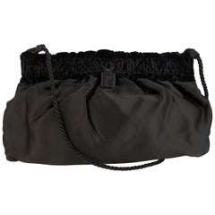 Fendi Vintage Black Satin Evening Crossbody Bag