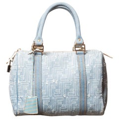 Fendi Vintage Blue Denim Zucca Bauletto Boston 25 Handbag