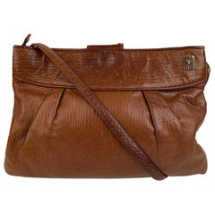 Fendi Vintage Brown Leather Convertible Crossbody Bag