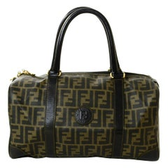 Fendi Vintage Brown Monogram Coated Canvas Boston Bag