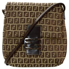 Fendi Vintage Brown Monogram Zucchino Flat Messenger Bag
