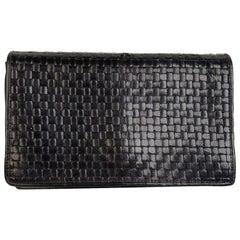 Fendi Vintage Dark Blue Woven Leather Mini Clutch Pouch Wallet