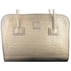 Fendi Vintage Dual Handle Woven Leather Cream Tote