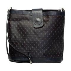 Fendi Vintage FF Logo Blue Canvas Shoulder Bag