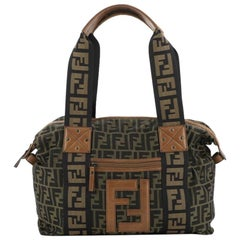 Fendi Vintage FF Zip Tote Zucca Canvas Tall