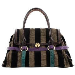 Fendi Vintage Flap Bag Velvet with Crocodile Embossed Detail Large