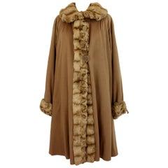 Fendi Vintage Fur Coat 70s Reversible Camel Wool and Silk Sable Insert Beige