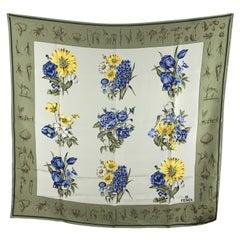 Fendi Vintage Green Silk Blue and Yellow Flowers Print Scarf
