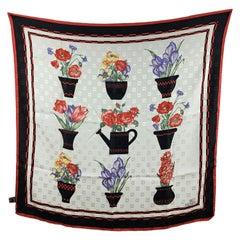 Fendi Vintage Jacquard Silk Floral Scarf Black and Red Border