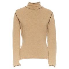 FENDI vintage khaki brown turtleneck pullover sweater typography logo IT42 M