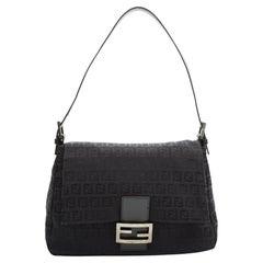 Fendi Vintage Mama Baguette Zuchino Black on Black Shoulder Bag