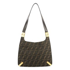 Fendi Vintage Metal Hobo Zucca Canvas Medium