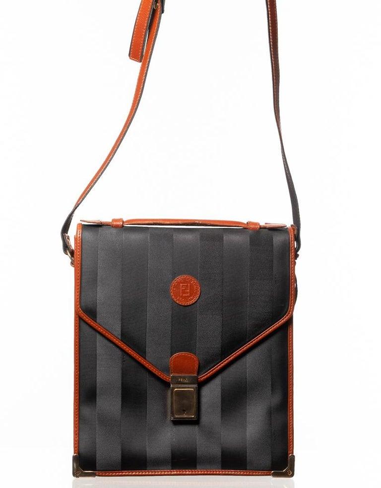Fendi Vintage Navy Striped Messenger Bag For Sale 5