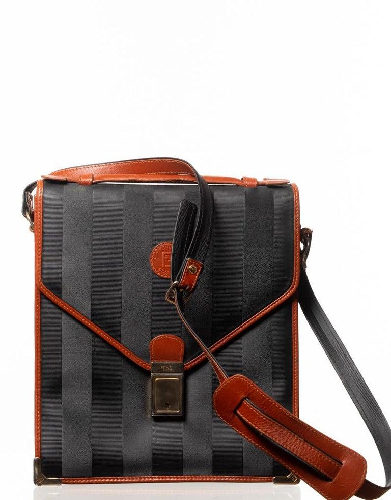 Fendi Vintage Navy Striped Messenger Bag For Sale 6