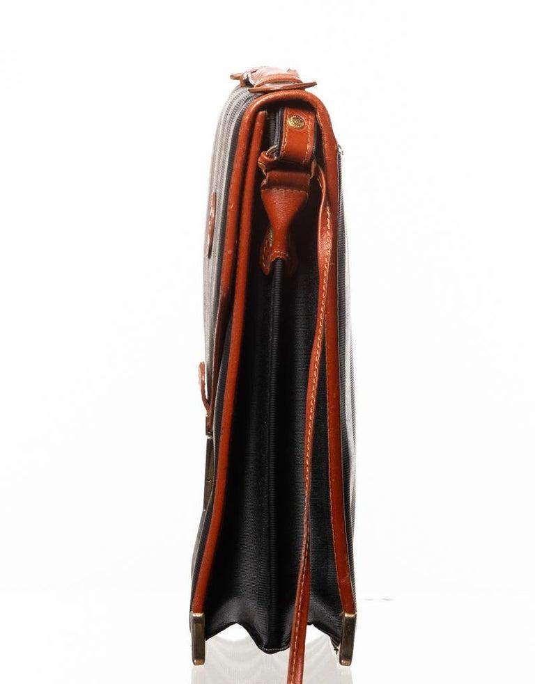 Black Fendi Vintage Navy Striped Messenger Bag For Sale