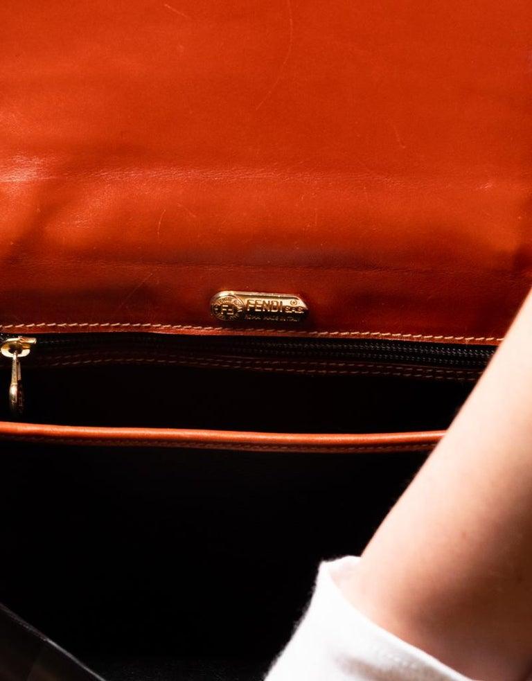 Fendi Vintage Navy Striped Messenger Bag For Sale 1