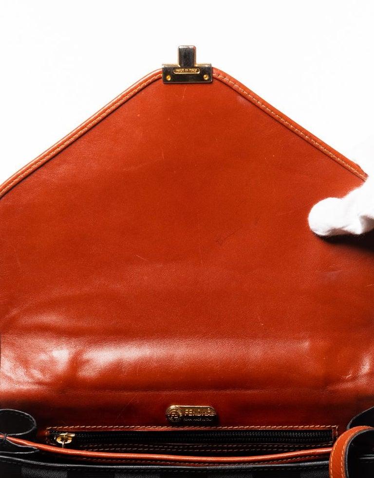 Fendi Vintage Navy Striped Messenger Bag For Sale 3