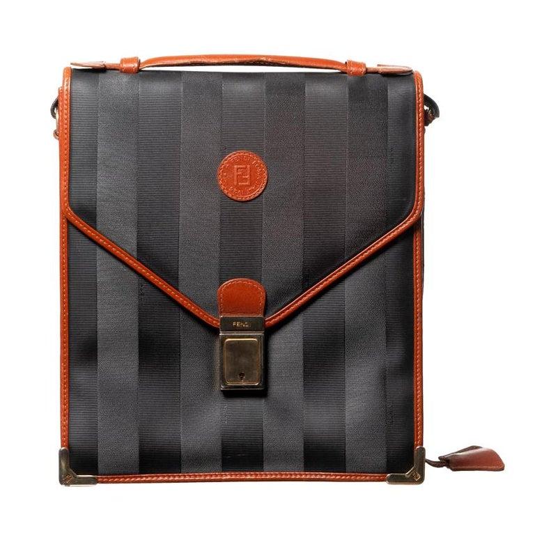 Fendi Vintage Navy Striped Messenger Bag For Sale