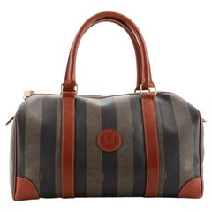 Fendi Vintage Pequin Boston Bag Coated Canvas Large