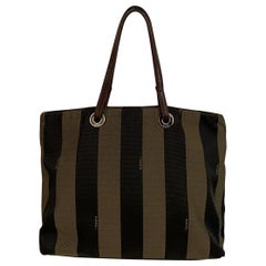 Fendi Vintage Pequin Striped Canvas Small Tote Handbag