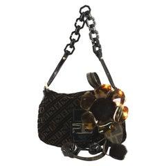 Fendi Vintage Resin Flap Bag Zucca Velvet with Fur Applique
