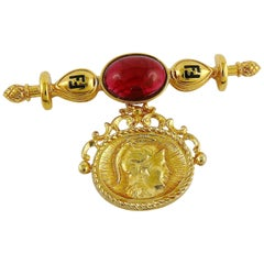 Fendi Vintage Roman Soldier Coin Charm Brooch