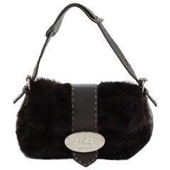 Fendi Vintage Selleria Flap Bag Fur and Leather Small