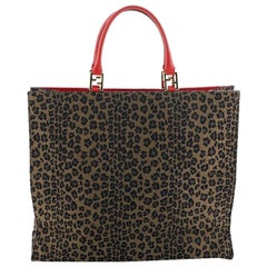 Fendi Vintage Shopping Tote Printed Canvas Large