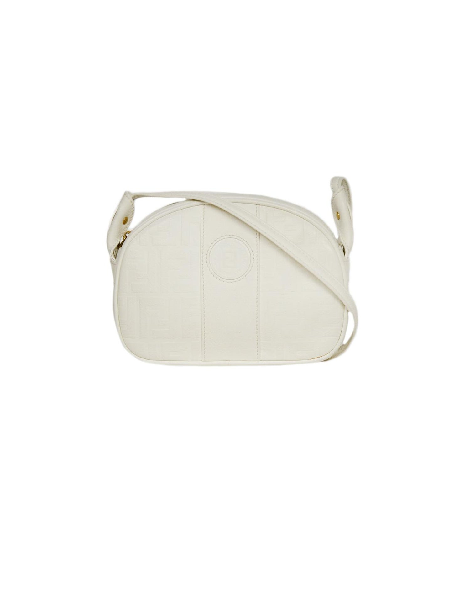 9d52a9ea Fendi Vintage White Leather Embossed Monogram Crossbody Bag