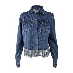 Fendi Vintage Womens Crystal Beaded & Fringed Denim Jacket, 2000s