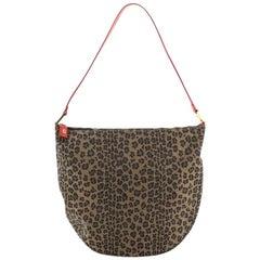 Fendi Vintage Zip Shoulder Bag Leopard Print Jacquard Medium