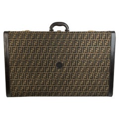 Fendi Vintage Zucca Canvas Hard Sided Suitcase Travel Trunk