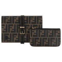 FENDI Vintage Zucca Clutch Handbag Detachable Pochette Pouch Bags Jewelry Roll