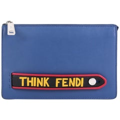 Fendi Vocabulary Pouch Inlaid Leather Smal