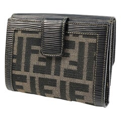 FENDI W hook Zucca khaki Womens Folded wallet khaki x dark brown