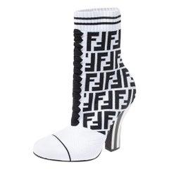 Fendi White/Black Zucca Stretch Knit Lace Ankle Boots Size 37.5