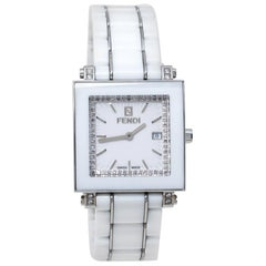Fendi White Ceramic Stainless Steel Diamond Quadro 6200G Women's Wristwatch 30mm