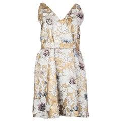 FENDI white & gold BROCADE GODET BELTED Sleeveless Dress 42