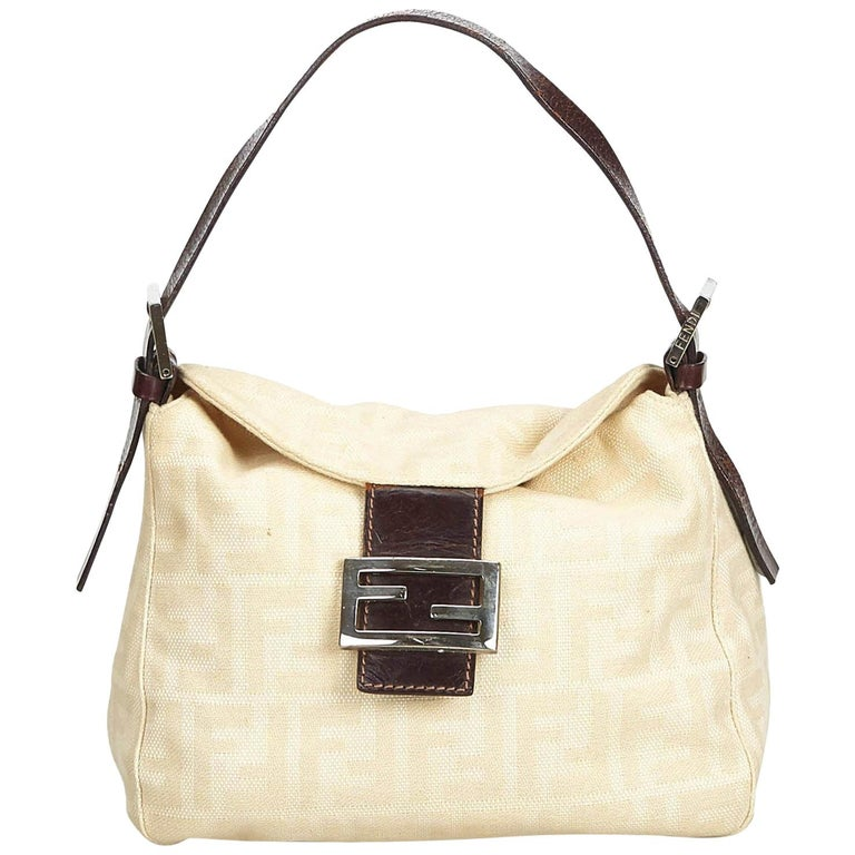 e3d9ac9a4e Fendi White Ivory with Brown Canvas Fabric Zucca Shoulder Bag Italy w/ Dust  Bag For