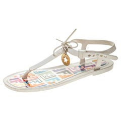 Fendi White Jelly Logo Charm Sunny Flat Sandals Size 36