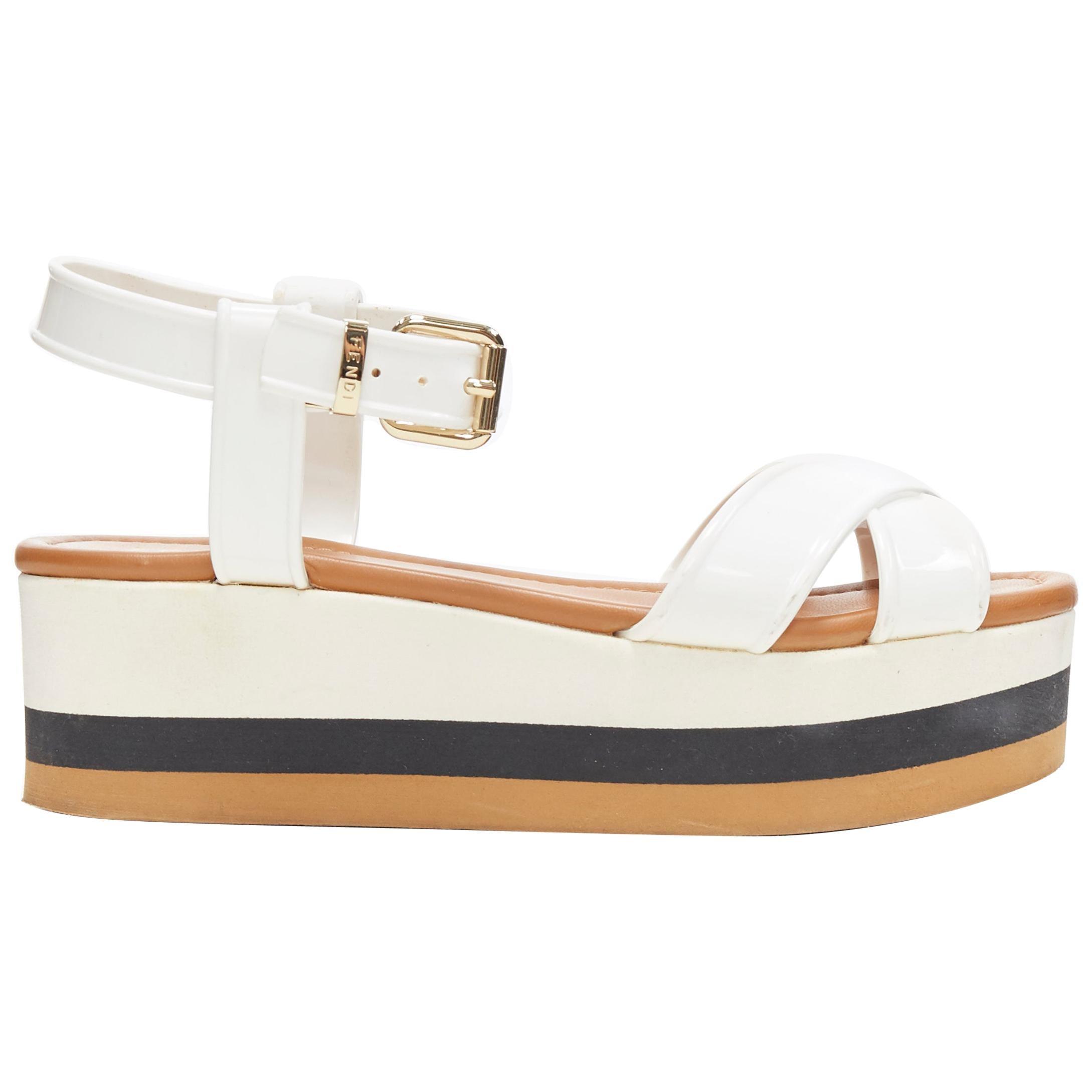 FENDI white jelly rubber ankle strap beige tricolor flat platform sandals EU36