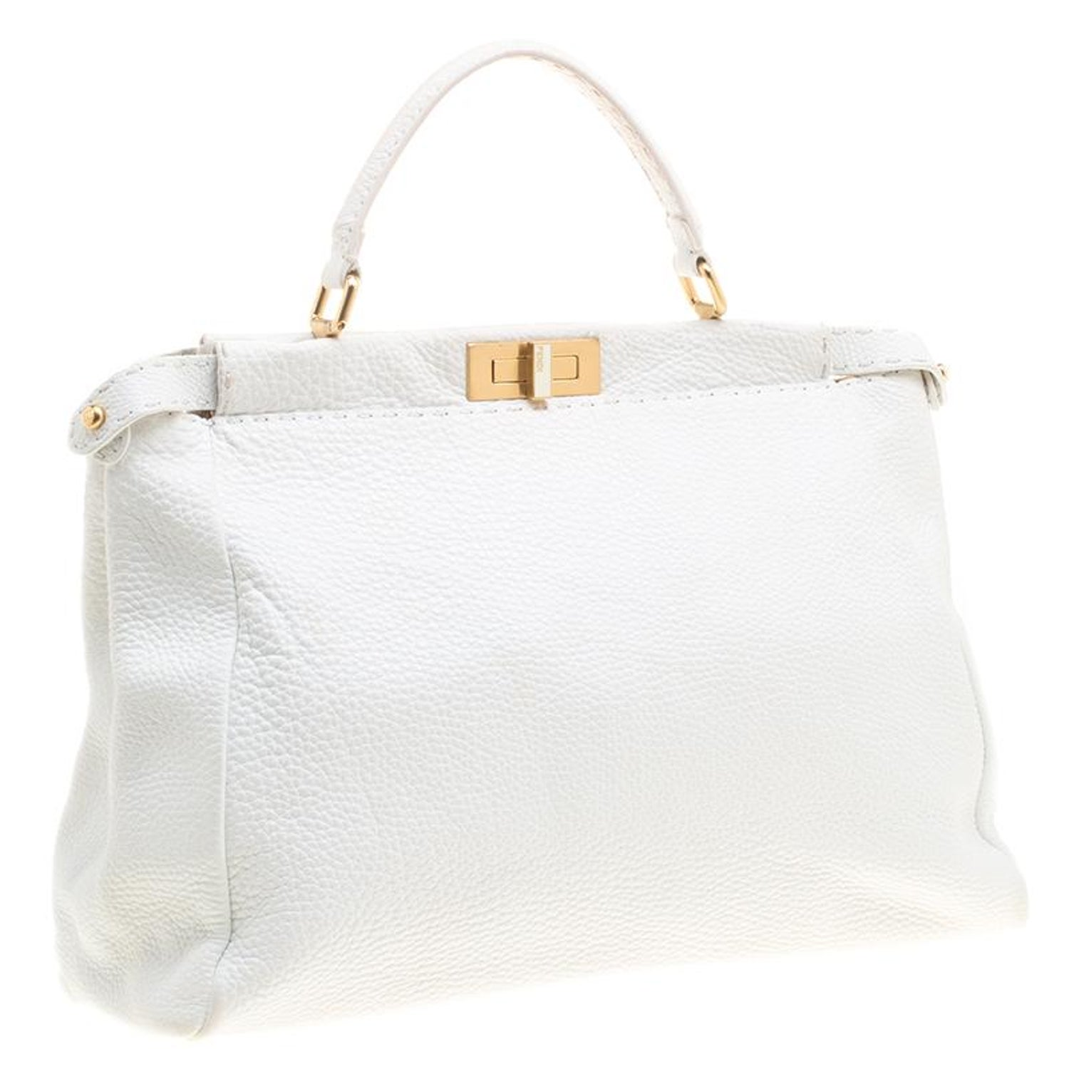 d91083356d Fendi White Leather Large Peekaboo Top Handle Bag For Sale at 1stdibs