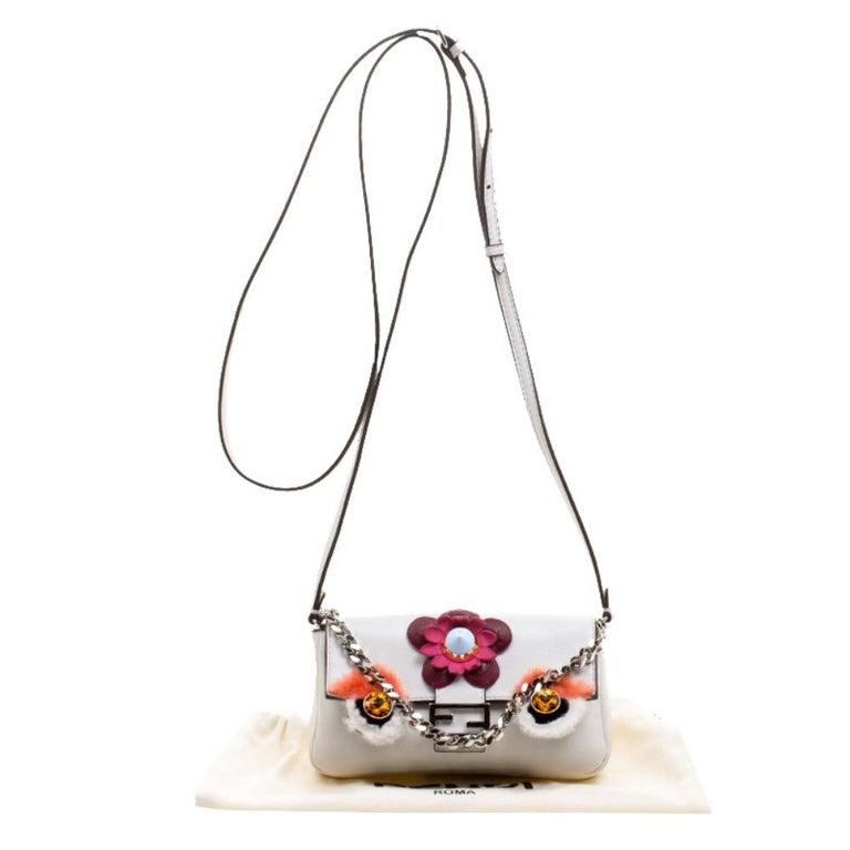 Fendi White Leather Micro Monster Baguette Bag 7